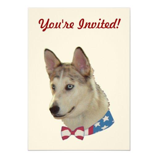 """Perro patriótico de Ausky Invitación 5"""" X 7"""""""
