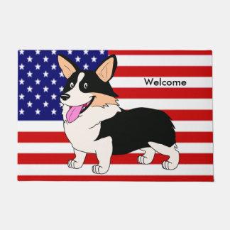 Perro patriótico del Corgi Galés del dibujo Felpudo