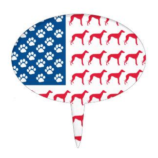Perro patriótico del galgo palillos de tarta