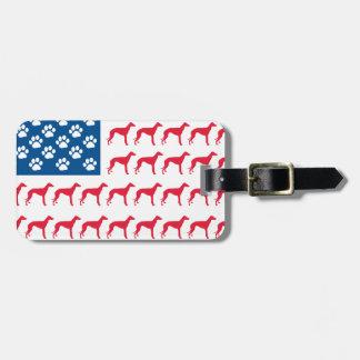 Perro patriótico del galgo etiquetas bolsa