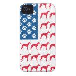 Perro patriótico del galgo iPhone 4 carcasas