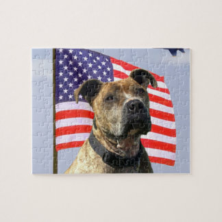 Perro patriótico del pitbull puzzle con fotos