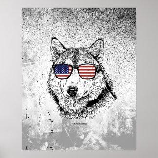 Perro patriótico póster