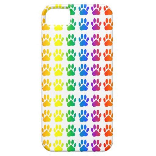 Perro Pawprint del arco iris iPhone 5 Case-Mate Coberturas