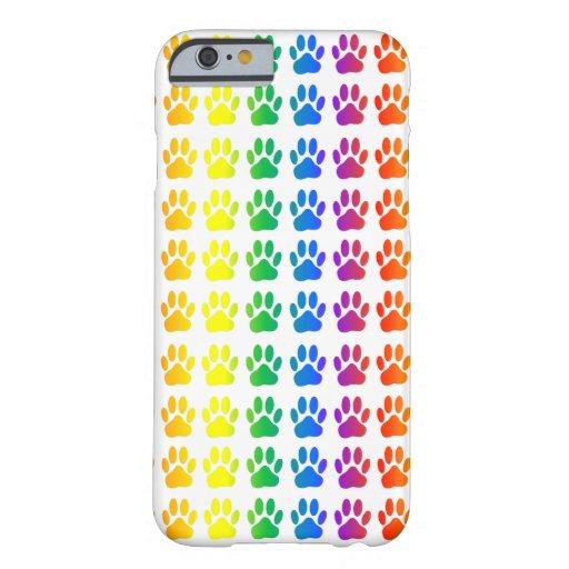 Perro Pawprint del arco iris Funda De iPhone 6 Barely There