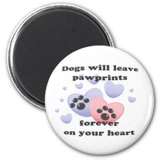 Perro Pawprints en el corazón Imán Redondo 5 Cm