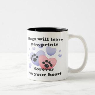 Perro Pawprints en el corazón Tazas De Café
