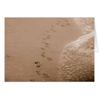 Perro Pawprints en la tarjeta de condolencia de la
