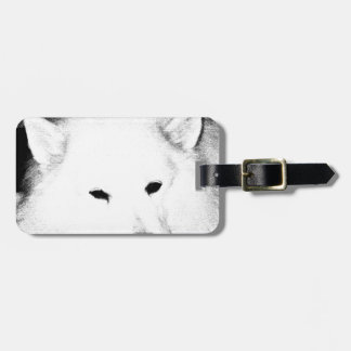 Perro peludo hermoso del blanco del samoyedo etiquetas para equipaje