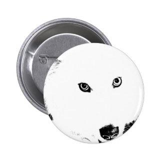 Perro peludo hermoso del blanco del samoyedo pins