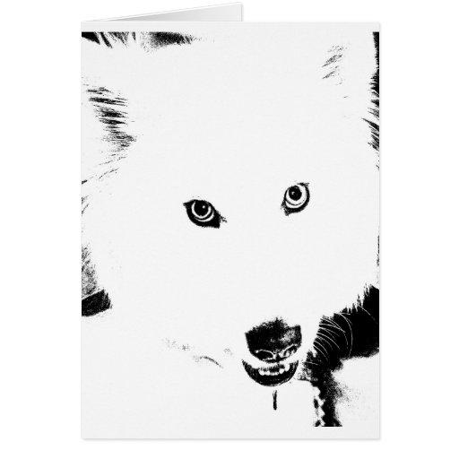 Perro peludo hermoso del blanco del samoyedo tarjetón