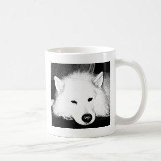 Perro peludo hermoso del blanco del samoyedo taza de café