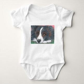 Perro pensativo del border collie body para bebé