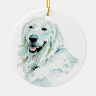 Perro perdiguero inglés blanco adorno navideño redondo de cerámica