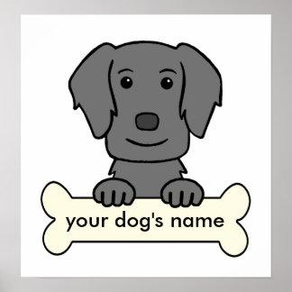 Perro perdiguero Plano-Revestido personalizado Póster