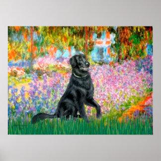 Perro perdiguero revestido plano 2 - jardín póster