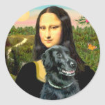 Perro perdiguero revestido plano 2 - Mona Lisa Etiquetas Redondas