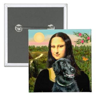 Perro perdiguero revestido plano 2 - Mona Lisa Pin Cuadrado