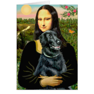 Perro perdiguero revestido plano 2 - Mona Lisa Tarjeta De Felicitación
