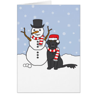 Perro perdiguero y muñeco de nieve tarjeta de felicitación