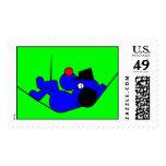 Perro perezoso - azul estampillas