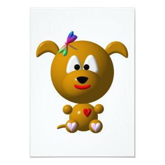 Perro: ¡Perro lindo con la libélula! Invitación 8,9 X 12,7 Cm