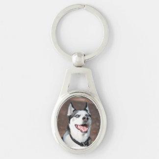 perro llavero plateado ovalado