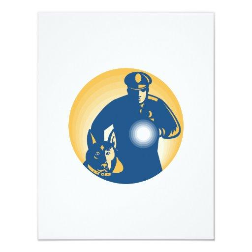 Perro policía del policía del guardia de seguridad invitación 10,8 x 13,9 cm
