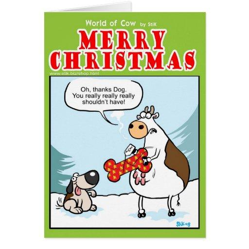 Perro presente tarjeta de felicitación