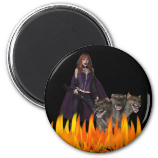 Perro principal del vampiro tres femeninos púrpura imán redondo 5 cm