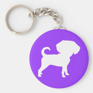 Perro principal grande lindo divertido de Puggle Llavero Redondo Tipo Pin