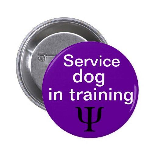 perro psiquiátrico del servicio en botón del entre pin redondo de 2 pulgadas