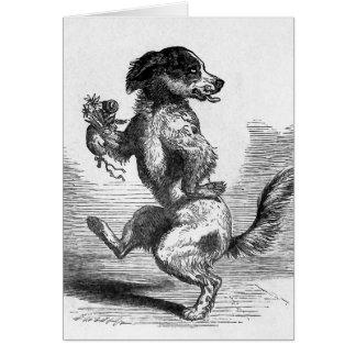 """""""Perro que baila ejemplo del vintage de una Tarjeta De Felicitación"""