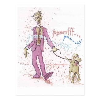 Perro que camina del zombi tarjeta postal