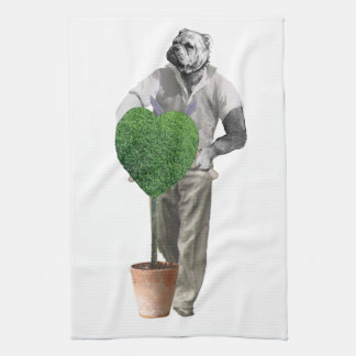 Perro que cultiva un huerto del vintage toalla de cocina