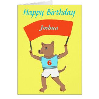 Perro que detiene nombre de los childs, cumpleaños tarjetas