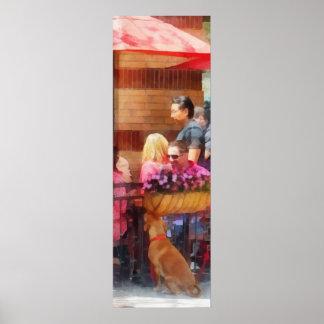 Perro que espera en el café Hoboken NJ Poster