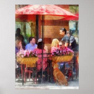 Perro que espera en el café Hoboken NJ Posters