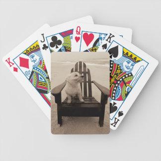 Perro que goza de la playa cartas de juego