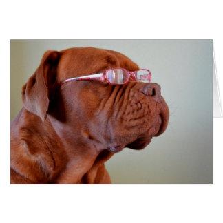 Perro que lleva las lentes rosadas tarjeta de felicitación
