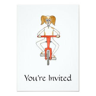 Perro que monta una bici invitaciones personales