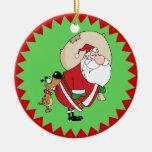 Perro que muerde el ornamento divertido del navida adornos