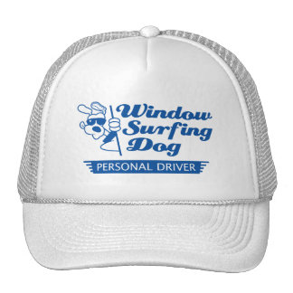 Perro que practica surf de la ventana gorros bordados