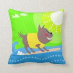 Perro que practica surf lindo almohada