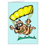 Perro que se lanza en paracaídas tarjetas
