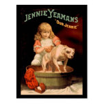 Perro que se lava del chica de Jenny Yeaman Postal