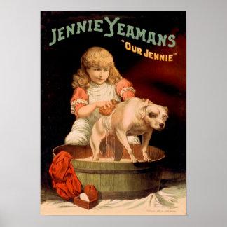 Perro que se lava del chica de Jenny Yeaman Poster