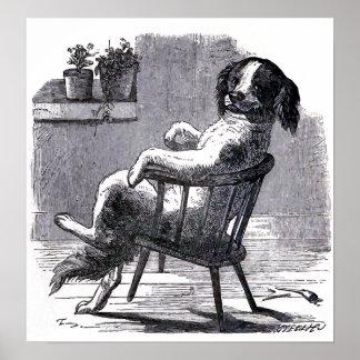 """""""Perro que se sienta en ejemplo de una silla"""" Poster"""