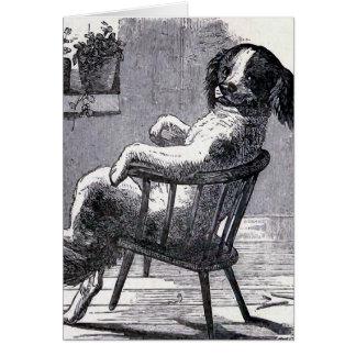 """""""Perro que se sienta en ejemplo de una silla"""" Tarjeta De Felicitación"""