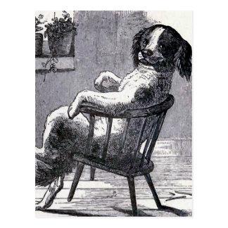 """""""Perro que se sienta en ejemplo de una silla"""" Tarjeta Postal"""